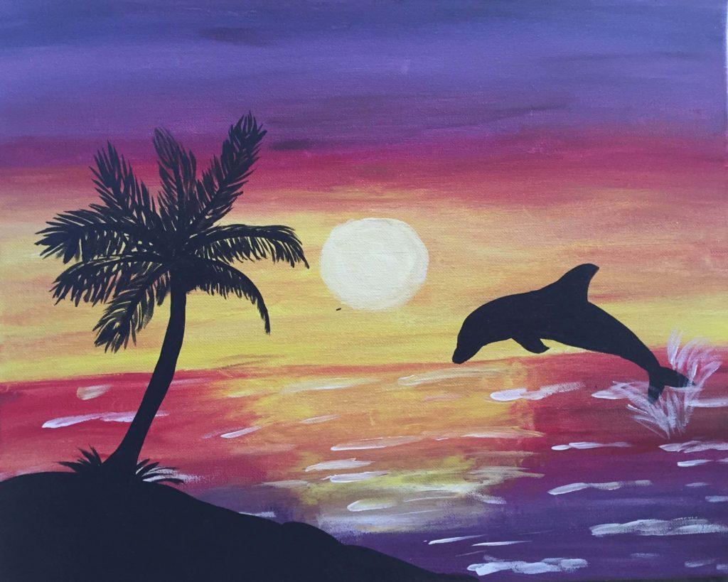 рисунки моря для срисовки дельфин