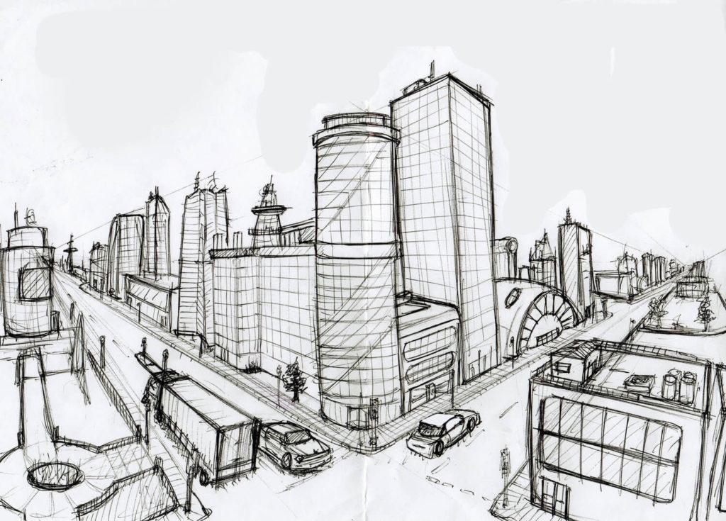 рисунки для срисовки город
