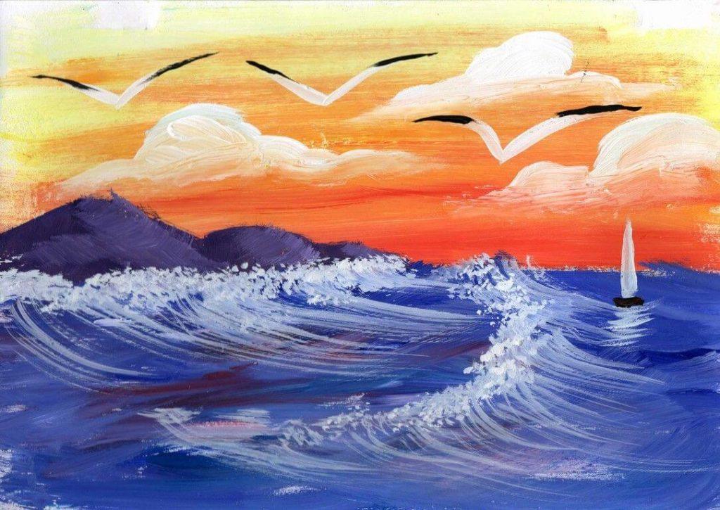 рисунки моря для срисовки чайки