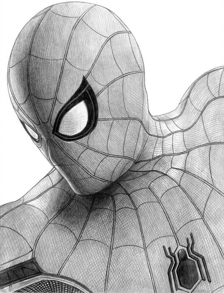 человек паук для срисовки карандашом