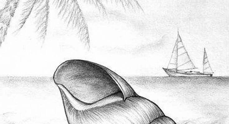 морские рисунки для срисовки карандашом
