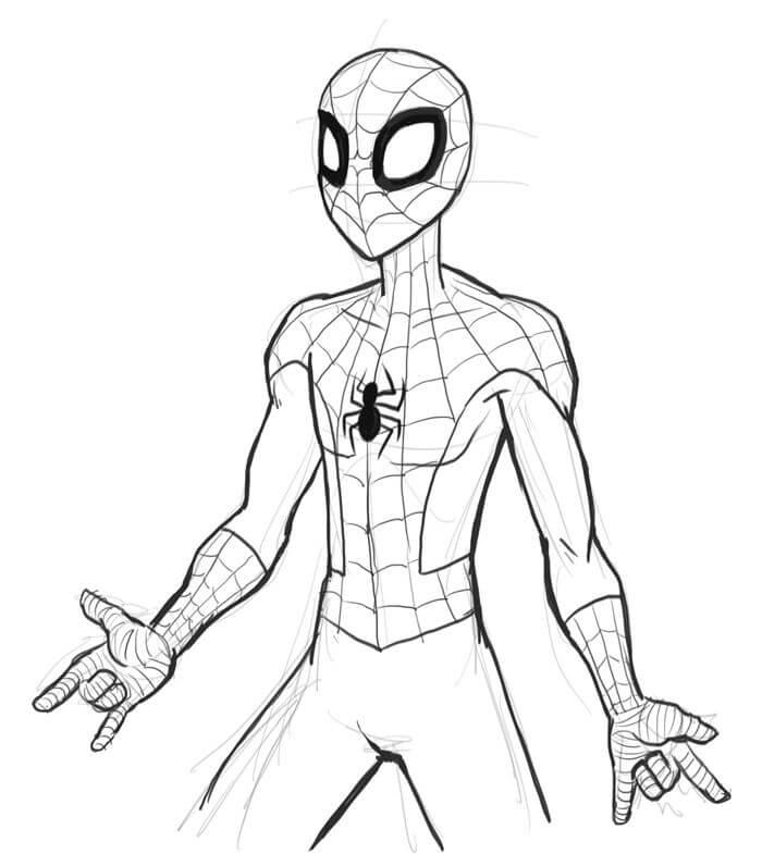 человек паук для срисовки мультяшные