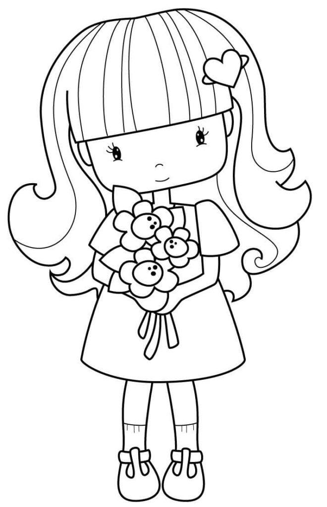 рисунки для срисовки куклы с цветами