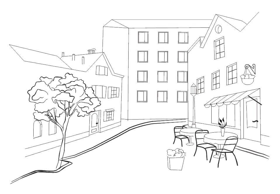 город для срисовки деревья