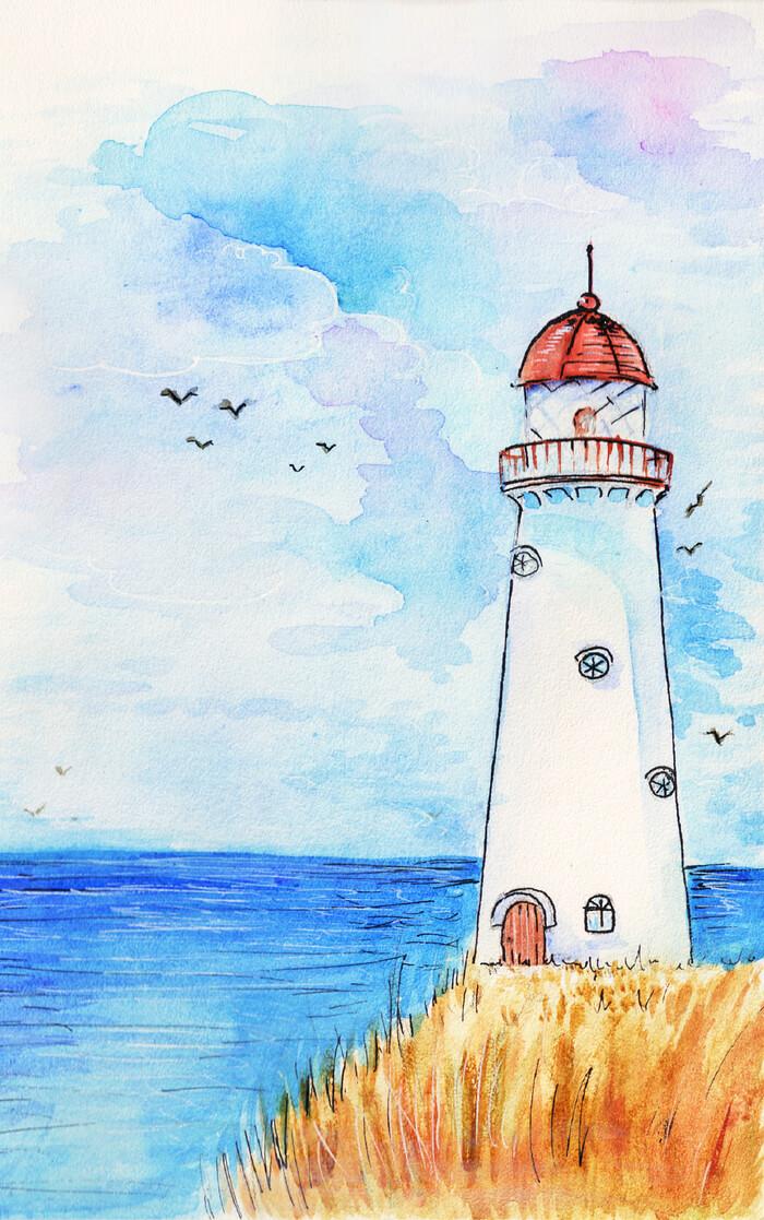 морские рисунки для срисовки маяк