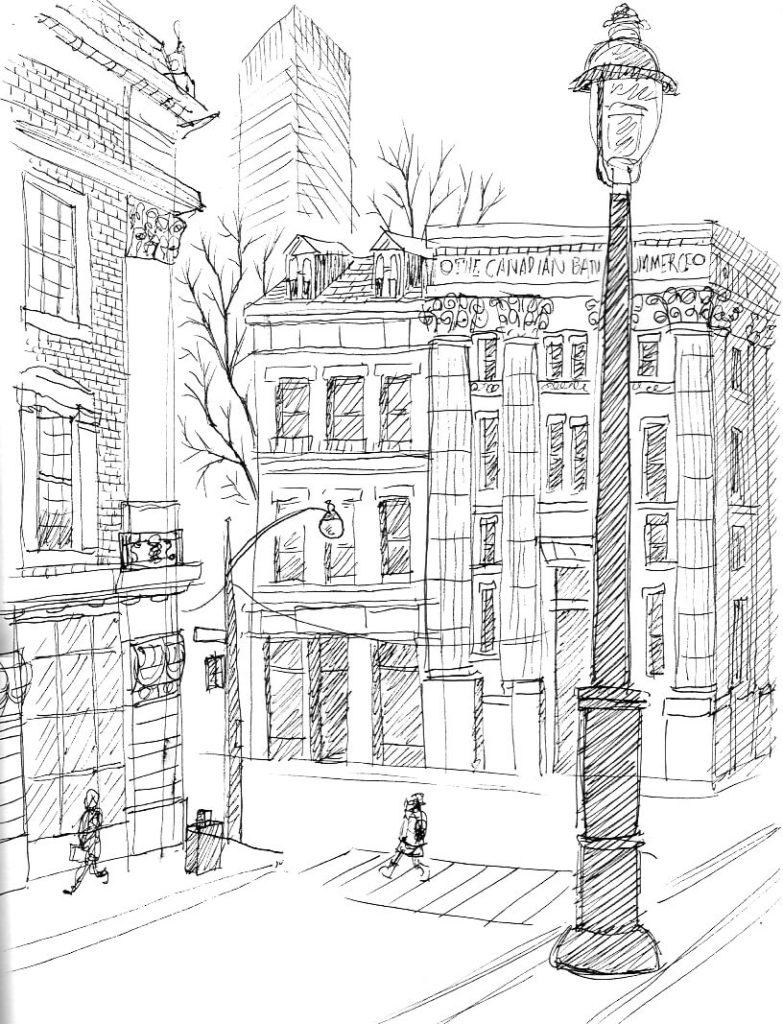 рисунки для срисовки город фонарь
