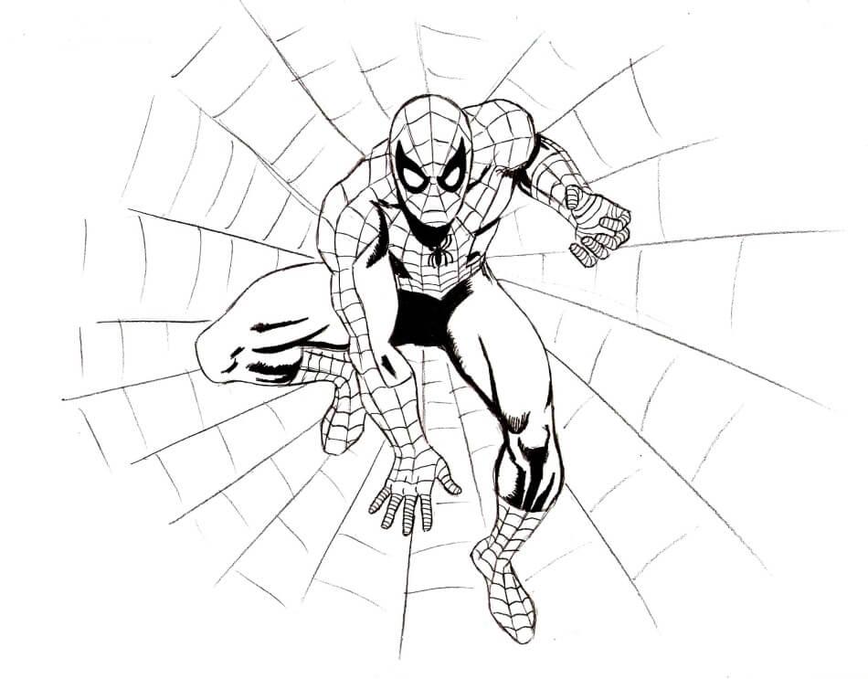 человек паук для срисовки для начинающих