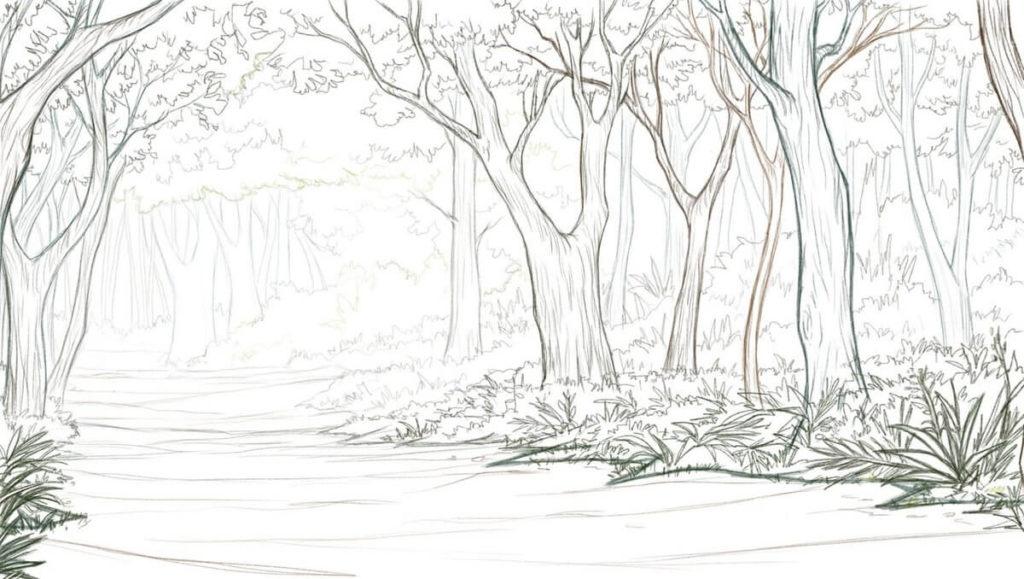 рисунки леса для срисовки легкие и красивые