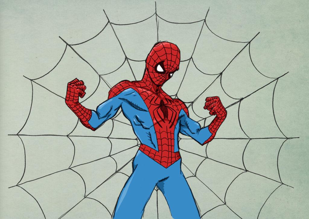 человек паук для срисовки цветные